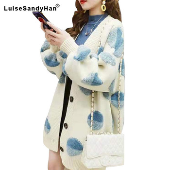 Thick warm sweater cardigan womens long paragraph autumn 2020 new loose long-sleeved dot pattern jacket