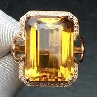 Fine Jewelry Real 18K Gold AU750 Natural Citrine 14ct Gemstone Diamonds Female Anniversary Gift Fine Rings