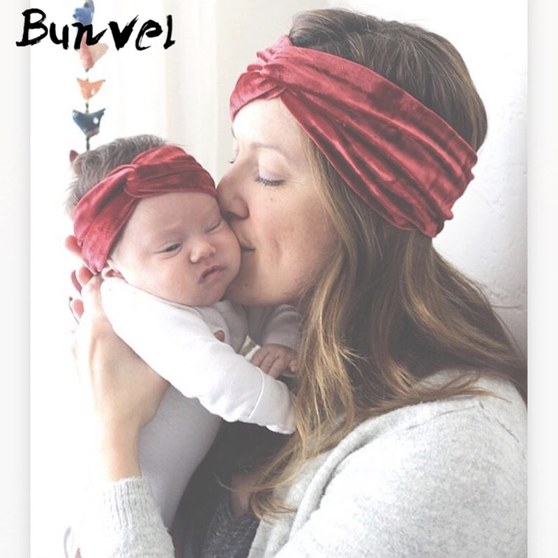 Bunvel Velvet Mommy And Me Clothes Turban Solid Headband Hair Band Autumn Winter Velvet Headband Mother Girl Hair Accessories Ff