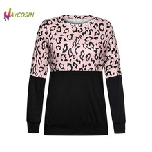 Jaycosin Women Tops And Bloues Women O-Neck Long Sleeves Casual Leopard Print Patchwork T shirt Tops Blusas Mujer De Moda(China)