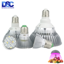 Светодиодный Grow светильник E27 полный спектр 18 Вт 28 Вт 30 Вт 50 Вт 80 Вт для гидропоническая посадка светильник AC85 265V 110V 220V Светодиодный лампа для выращивания растений с питанием от источника
