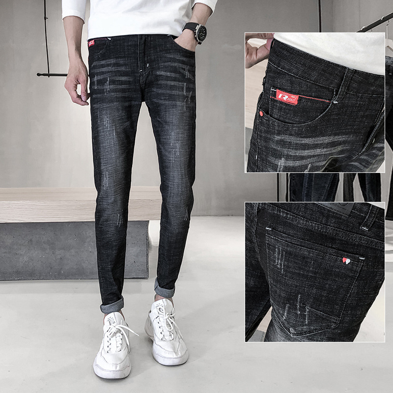 New Style Black And White With Pattern Korean-style Slim Fit Pants Jeans Men's Trousers Elasticity Pencil Pants Casual Men's Jea