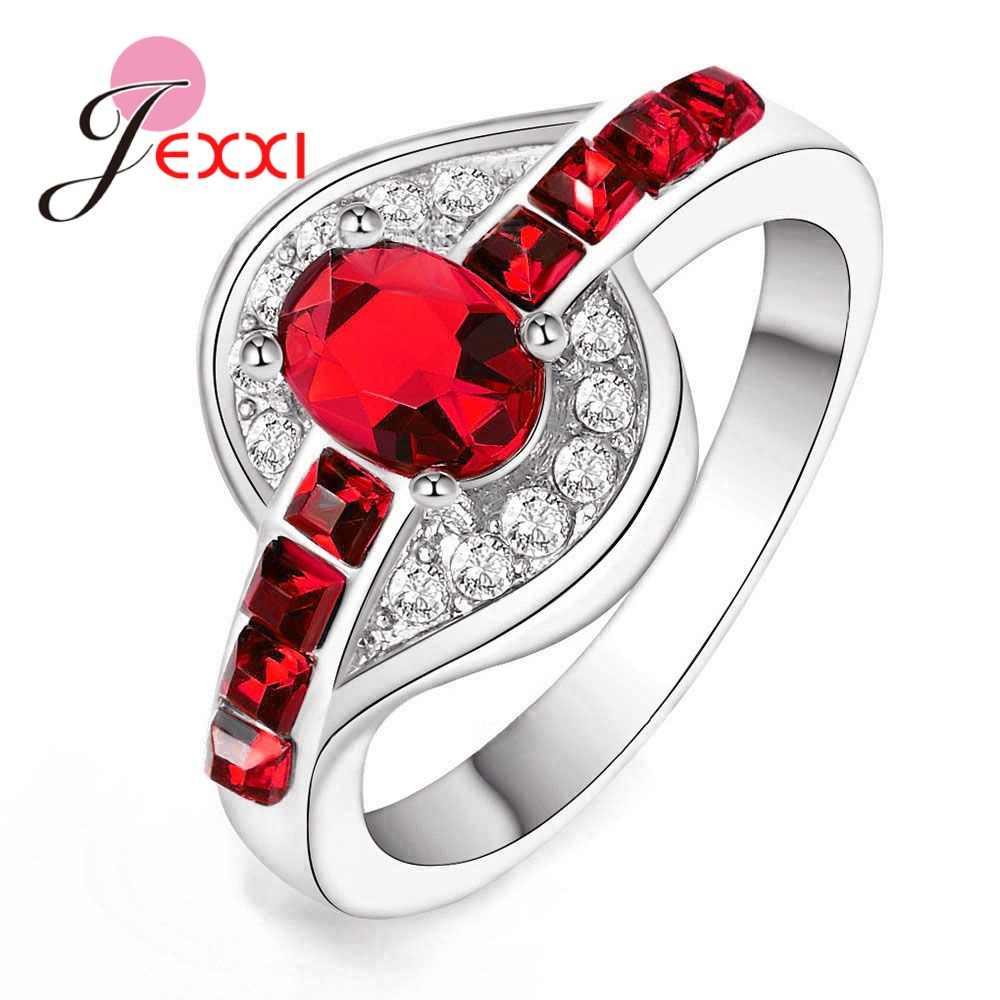 โรงงาน 925 แหวนเงินสเตอร์ลิงประดับเพชร Cubic Zirconia Pomise แหวนสำหรับสุภาพสตรีค็อกเทลปาร์ตี้แฟชั่นเครื่องประดับอินเทรนด์