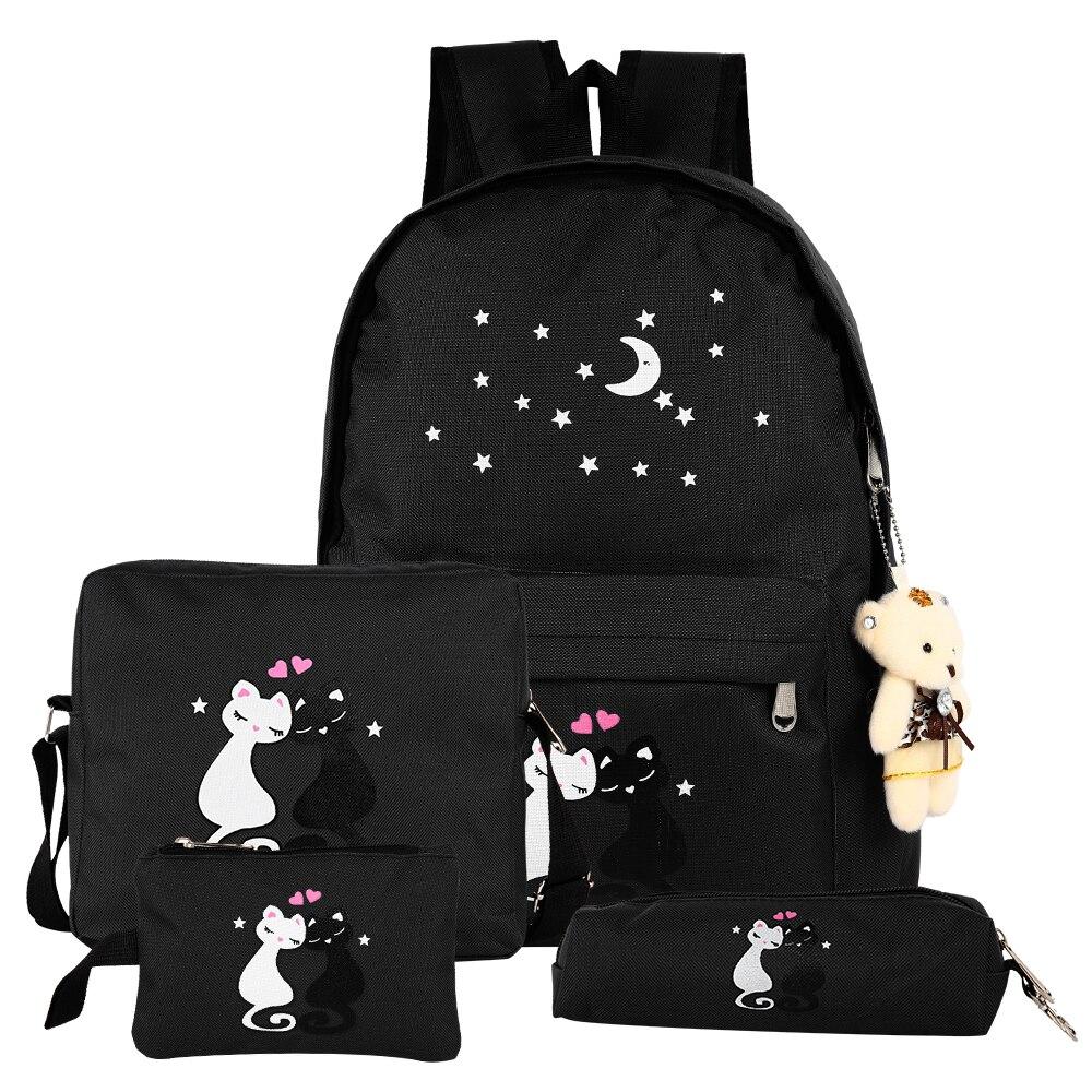 4pcs/set Women Backpack Cat Printing Nylon School Bags For Teenager Girls Preppy Style Rucksack Cute Book Bag Mochila Feminina
