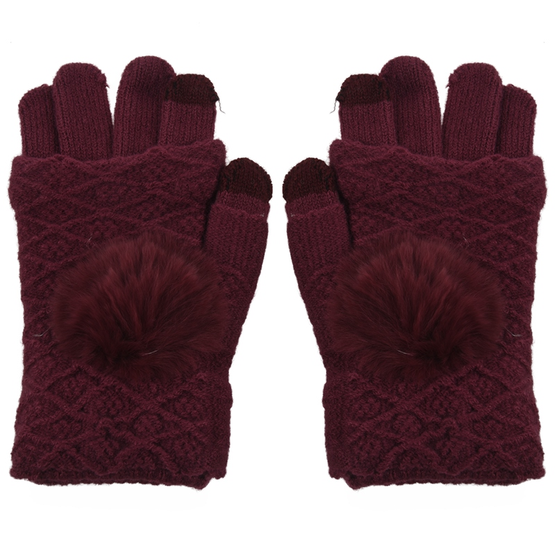 NEW-Finger Knitted Touch Screen Gloves Thicken And Warm In Winter Jujube Red