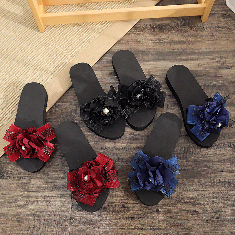 2020 New Women Slippers Summer Bohemia Floral Beach Sandals Striped Bow Slippers Flip Flops For Women Platform Sandals Shoes