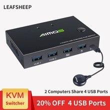 Новая одежда для маленькой девочки 2 в 1 из 4K USB HDMI KVM переключатель коробки для 2 ПК обмен клавиатура Мышь разъем принтера бледный видео Диспл...