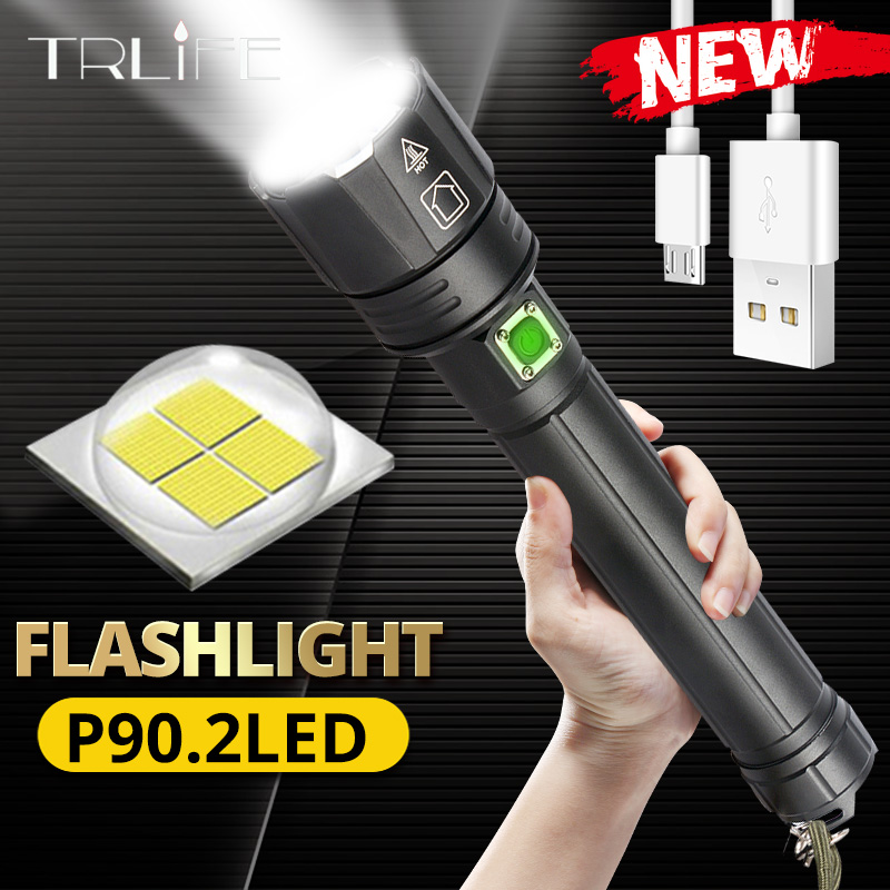 2021 МОЩНЫЙ СВЕТИЛЬНИК s XHP90.2 ультра яркий 18650 светодиодный светильник для вспышки XLamp USB Перезаряжаемый XHP70 Тактический светильник 26650 Zoom Camp фо...