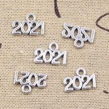 50 pçs encantos carta 2022 2021 2020 2019 ano 13x9mm antigo prata cor pingentes diy fazendo descobertas artesanal tibetano jóias
