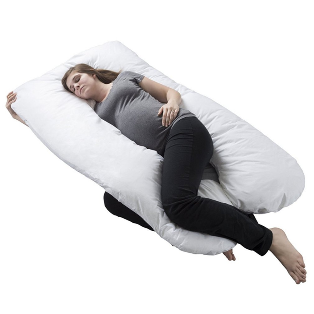Pregnancy Full Body Pillow-U Shaped Maternity and Nursing Cushion with Removable White Cover-Back Neck Hip Support