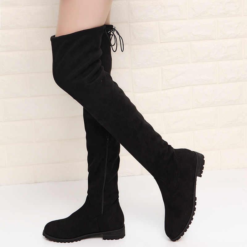 Sonbahar Kadın çizme Faux Süet Kadın Diz Çizmeler Üzerinde Seksi Yüksek Topuklu Ayakkabılar Kadın Kadın İnce Uyluk Yüksek Çizmeler botas 35-43