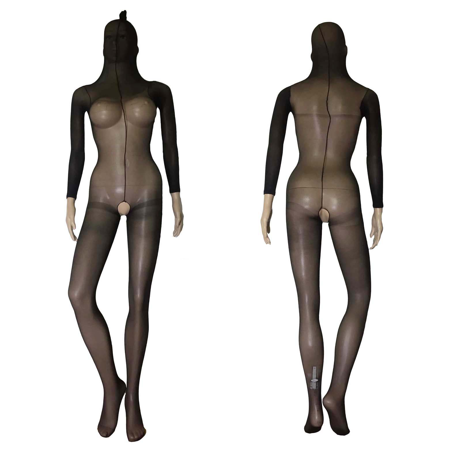 Unisex Sheer Opaque Crotchless Body Stocking Body Encasement Up To Head Bodyhose Pantyhose Erotic Bodystocking Lingerie