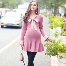 Newest Autumn Winter Bow-knot Lacing Knit Dress Loose Ruffles Maternity Fashion Cute Pregnant Womans Gown
