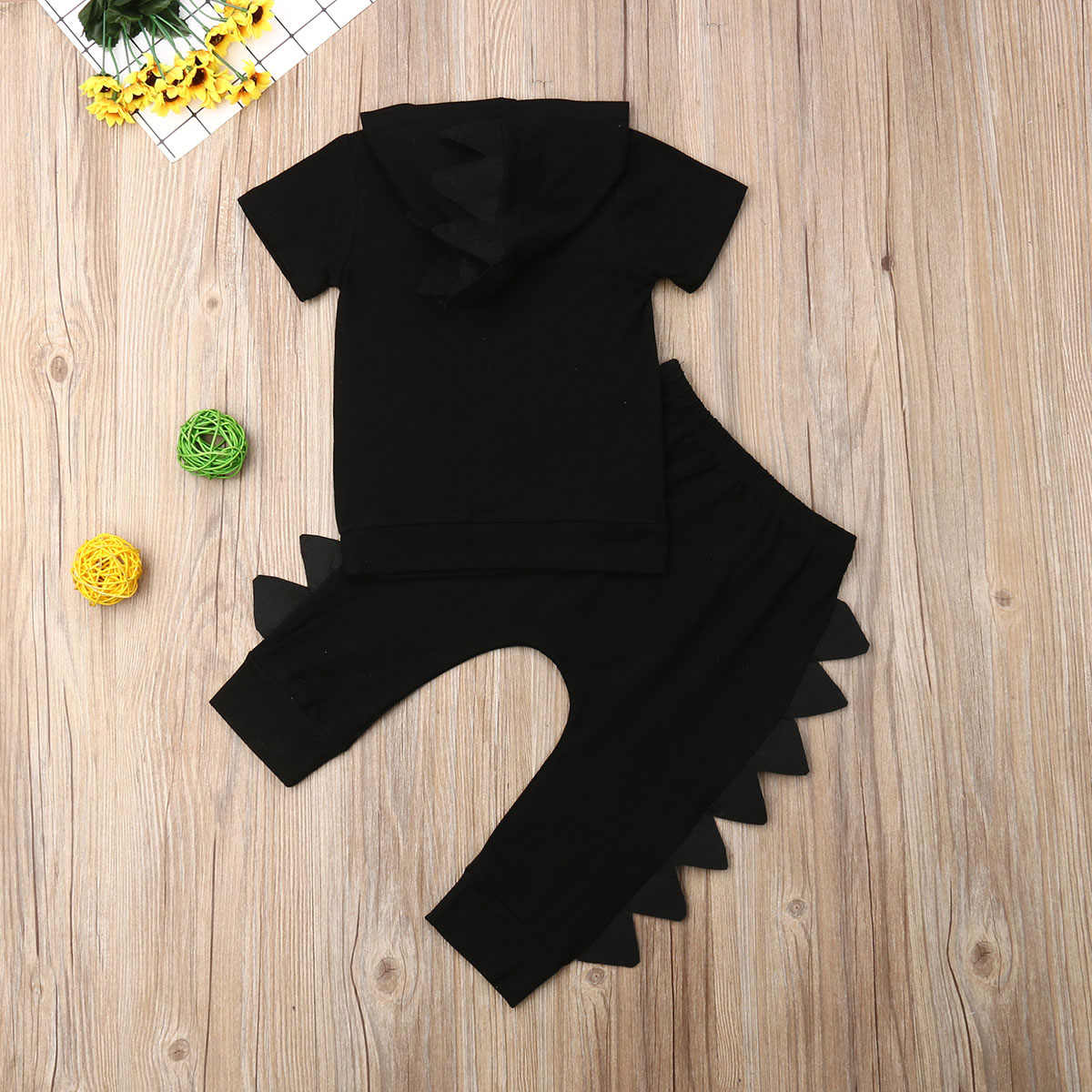 Dinosaurier Kinder Baby Boy Kleidung Set 2019 Neugeborenen Sommer Mit Kapuze Kurzarm Schwarz Solide T-shirt Tops Hosen Hosen Outfit 2PCs