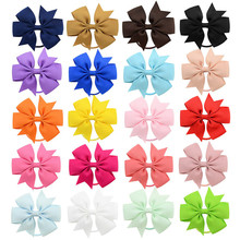 20 Colors Elastic Hair Bands Scrunchies for Girls Grosgrain Ribbon Bow Ponytail Holder