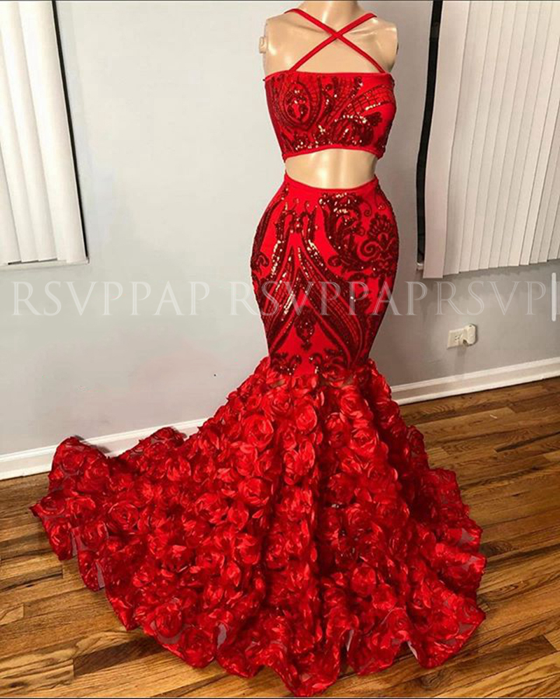 African Black Girls Long   Prom     Dresses   2020 Boat Neck Red Sequin 3D Rose Two Piece Mermaid Women   Prom     Dress