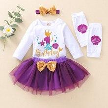 1 год Платье для маленьких девочек для новорожденных, младенцев, маленьких 1st комбинезон на день рождения Топы + юбка-пачка для девочек + гетр...