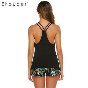 Image 5 - Ekouaer Sexy Sunmer Pajamas Set Women Lounge Sleepwear Sleeveless Cami Tops Print Shorts Pant Pajama Nightwear Set