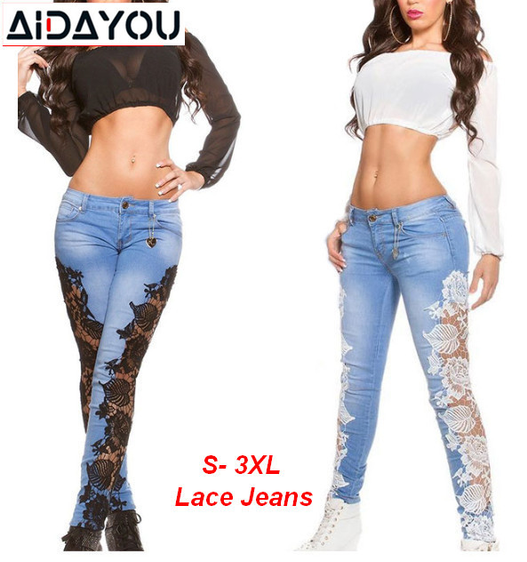 Women Side Lace Jeans Spring Summer Beach Hollow Out Skinny Denim Pants High Street Denim Pants Stretch Washed Jeans Ouc2478J