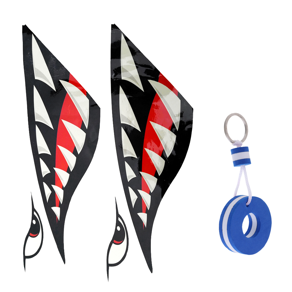 2x Shark Tooth Vinyl Decals Stickers Kayak Jet Ski + Blue Buoy Shaped Floating Key Chain