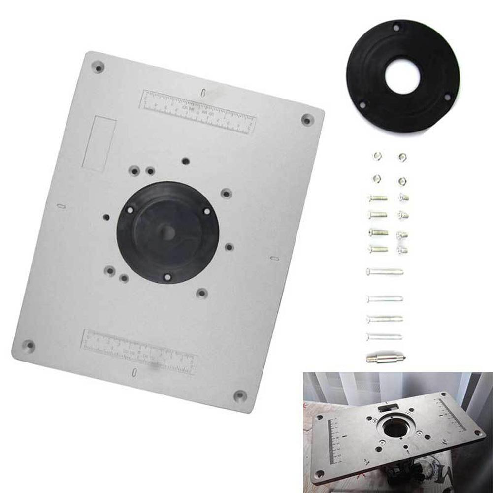 300mmX235mmX9.5mm DIY Aluminum Alloy Router Table Insert Plate With Rings Screws For Woodworking