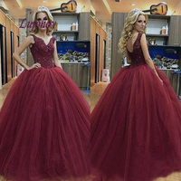 Burgundy Quinceanera Dresses Ball Gown Plus Size Masquerade 15 year old Sixteen Sweet 16 Dress Prom Dress debutante