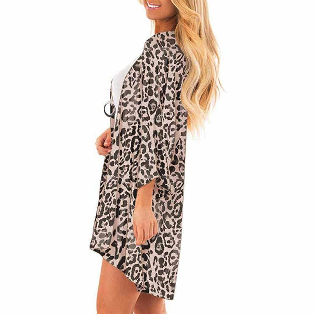 Bohemian Luipaard Print Kimono Vrouwen Strand Vest Zomer Blouse Vintage Blusas Vrouwelijke Mouwen Tuniek Tops 5xl # Cjh