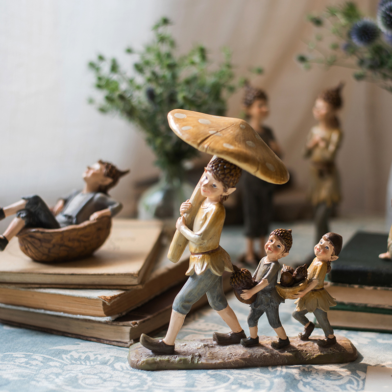 Three Forest Elves Holding Mushrooms And Pine Cones Walking On Stone Rock Figures Statue Home Crafts Decor Resin Figurines Gifts