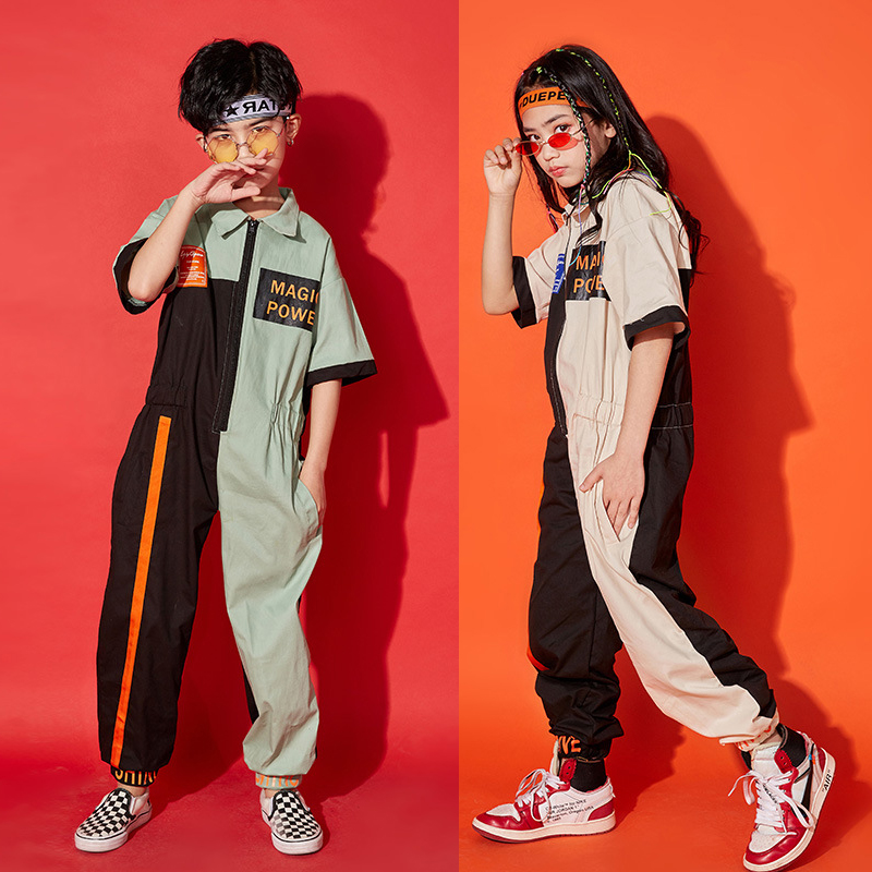 New Hiphop Costume For Kids Jazz Dance Costumes Boys & Girls Street Dance Performance Jumpsuit Festival Party Rave Outfit DQL164
