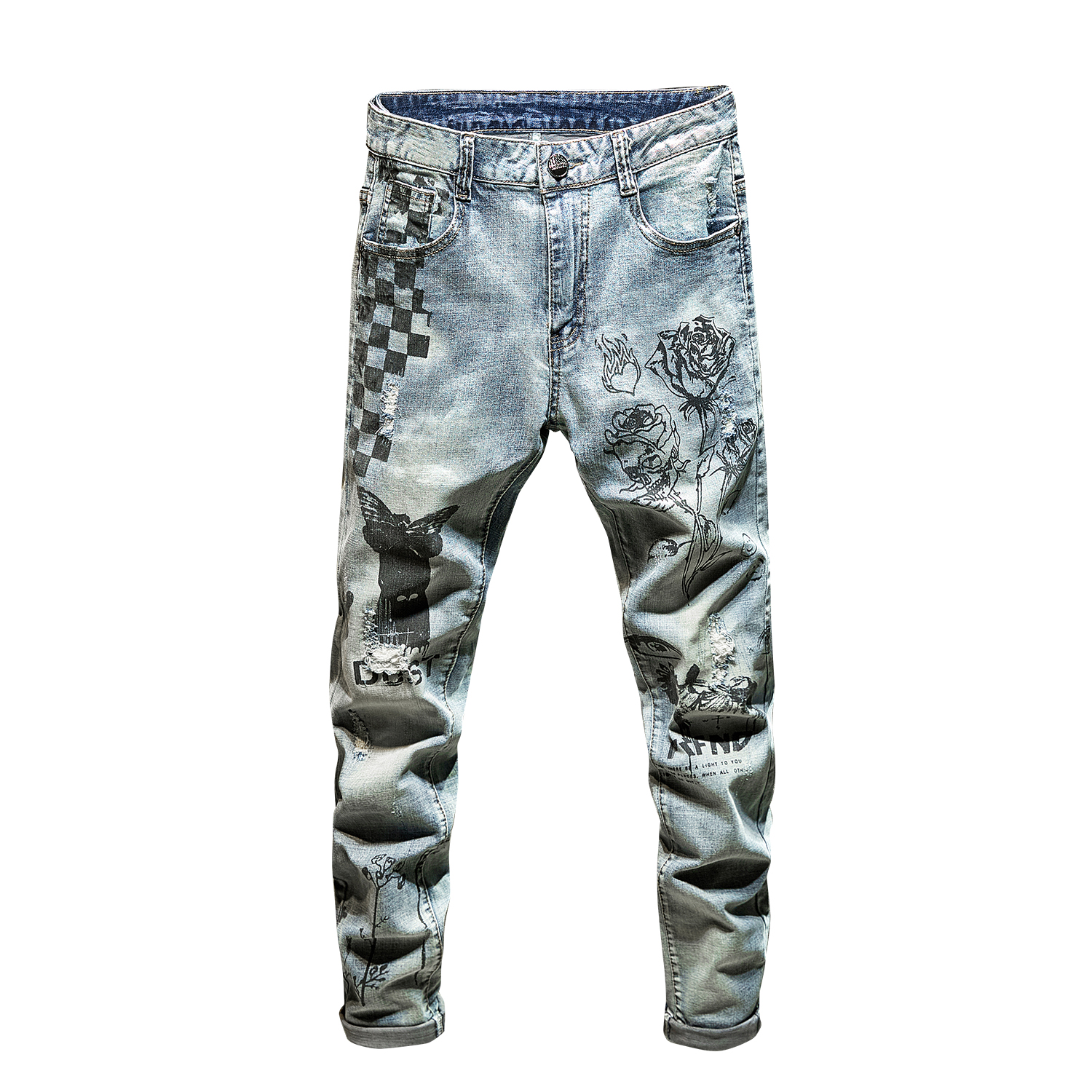 POVOTE 2020 New Spring And Autumn Fashion Brand Men's Jeans Retro Fashion Slim Print Pants Hip Hop Street Jeans