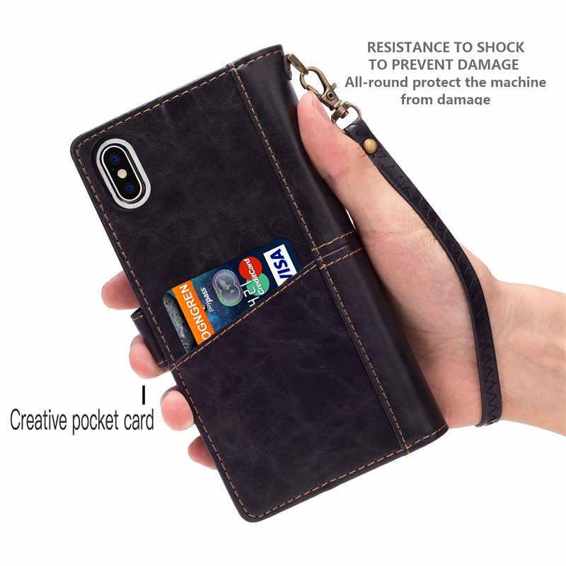 """Для iPhone X Case с несколько отделений для карт флип кожаный чехол-книжка в стиле """"Ретро чехол для iPhone 6, 6 S, 7, 8plus, XR XS Max 11 Pro Max чехол Coque"""