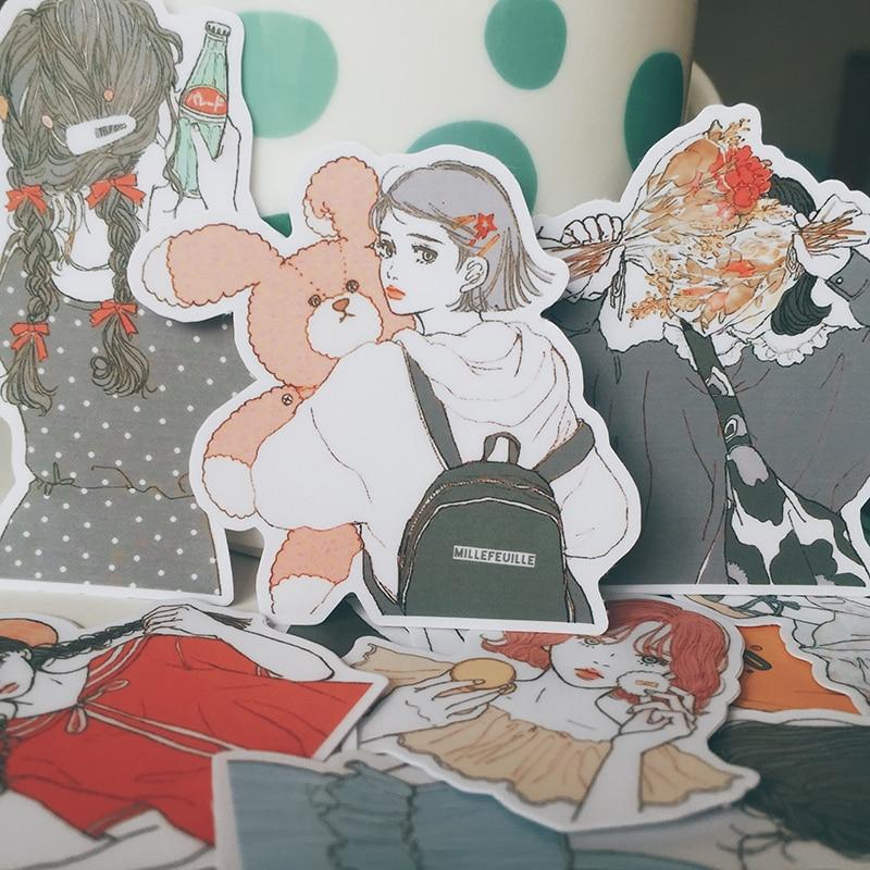 15pcs/bag Kawaii Girl Stickers DIY Scrapbooking Hand-painted Beautiful Girl Series Album Journal Happy Plan Decorative Stickers