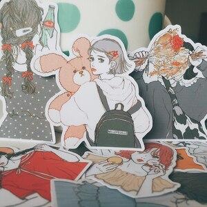 Image 1 - 15pcs/bag kawaii girl stickers DIY scrapbooking hand painted beautiful girl series album journal happy plan decorative stickers
