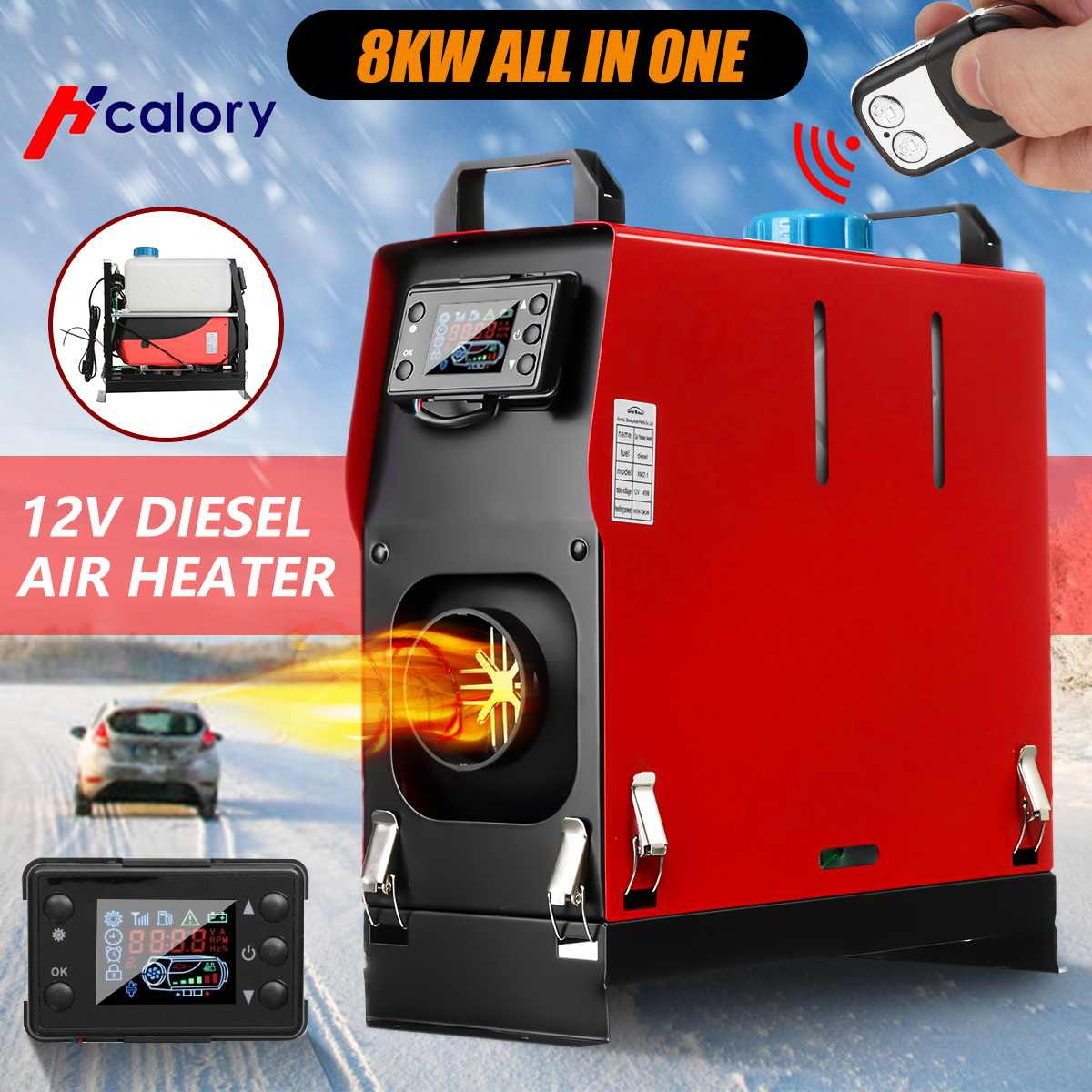 Hcalory Car Heater All In One Air Diesels Heater 8KW Adjustable One Hole For Webasto Trucks Motor Homes Boats Bus LCD Key Switch
