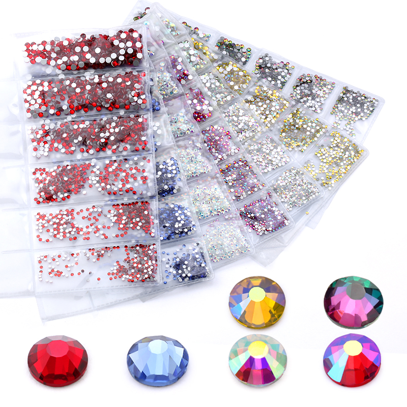 New Mix sizes SS4-SS12  Colorful 1680pcs 3D Non HotFix Nail Art Flatback Rhinestones Decorations dancing costumes