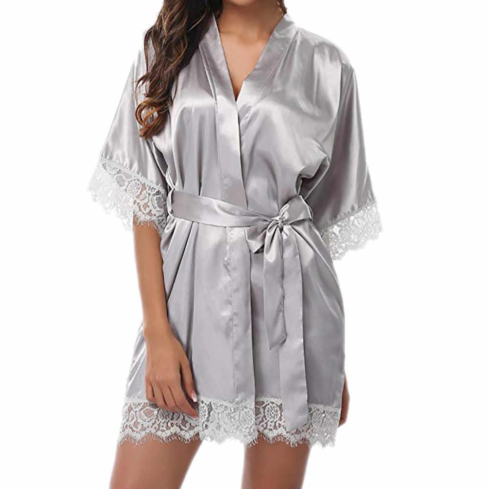 2019 חדש אופנה נשים של חלוקי רחצה סאטן חלוק כתונת לילה הלבשת פיג 'מה הלבשה תחתונה לילה מיני שמלת תחרה סקסית עצור שרוול