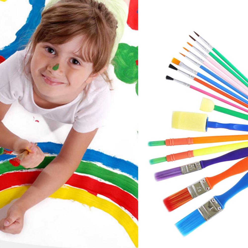 15Pcs/Set Paint Brush Set Kids Drawing Watercolor Brush Set Graffiti Art Paiting Sponge Brush Pen Stationery Supplier Kids Gift