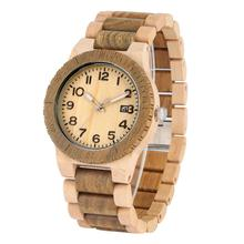 Classic Quartz Wooden Watches Men Special Maple Strap Wood Watch for Female Typical Large Dial with Calendar Clock herren uhren