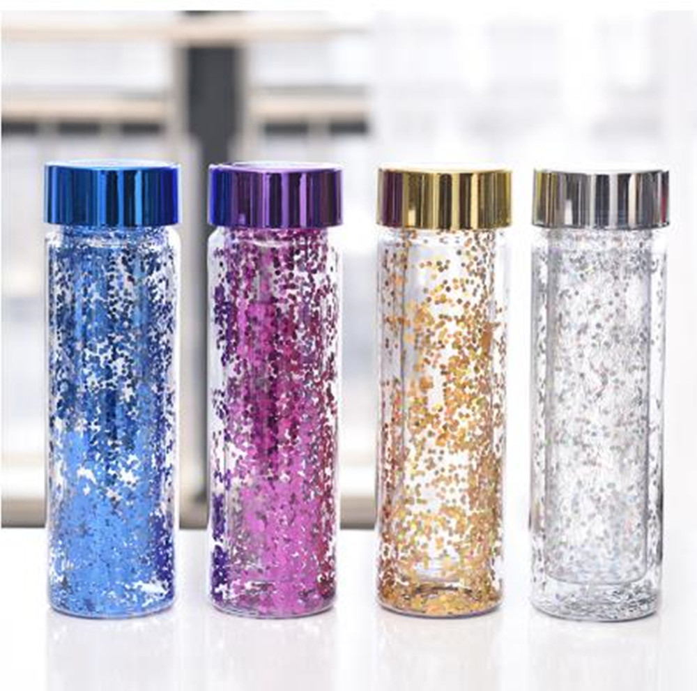 600ML Portable Fashion Bling Bling Leakproof Plastic Water Bottle Outdoor Sports Travel Camping Hiking Office Drinkware Kettle