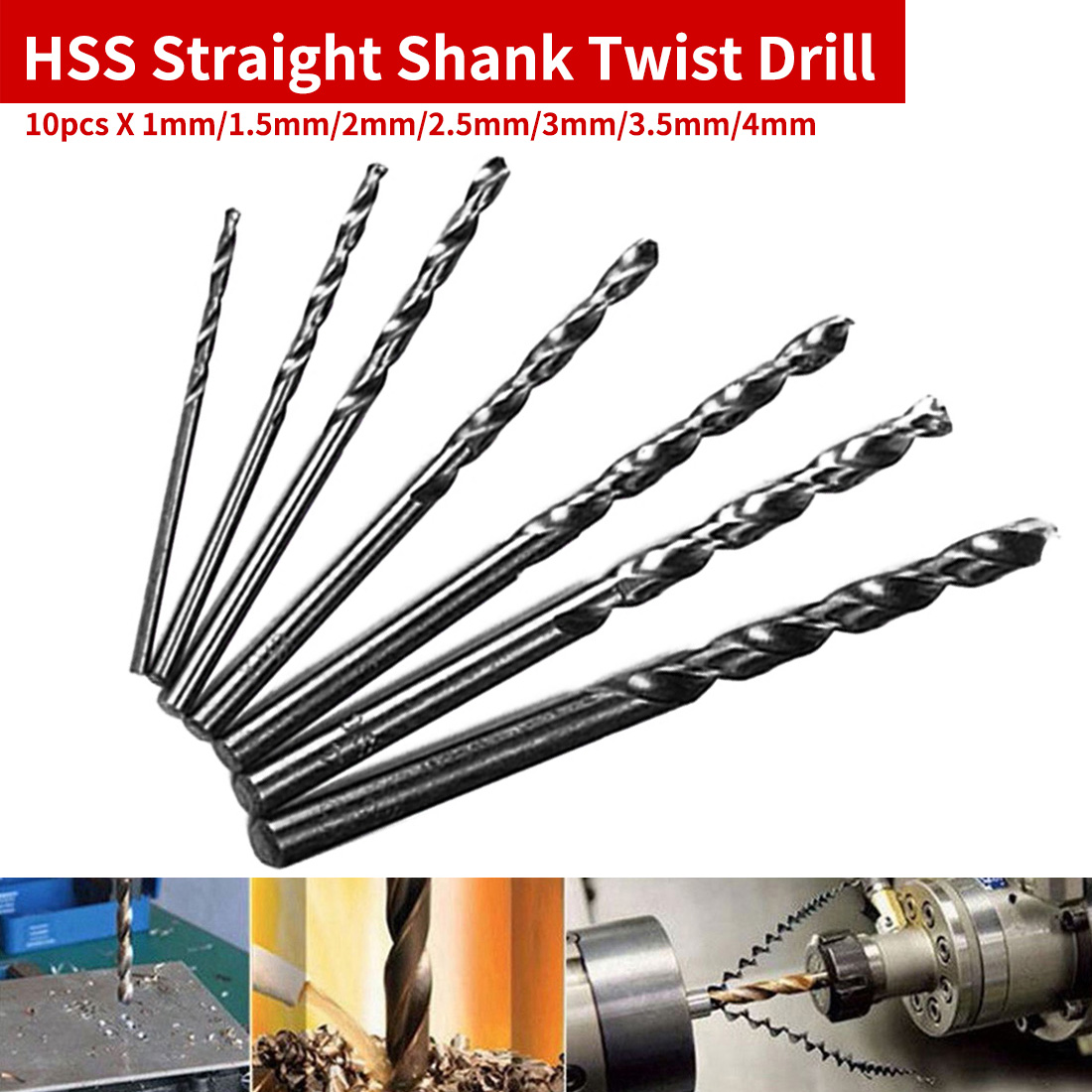10pcs HSS Mini Drill Twist Drill Bits Set Straight Shank For PCB/Thin Aluminum/Iron Sheet 1mm/1.5mm/2mm/2.5mm/3mm/3.5mm/4mm