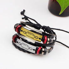 new women fashion multilayer Handmade Braided Genuine leather Bracelets bangles charming rope adjustable jewelry for Men