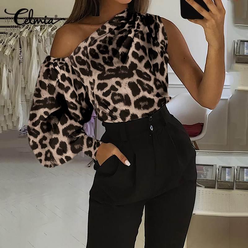 Celmia camisa com estampa de oncinha, blusa feminina de ombro de fora para verão, manga longa, estampa de oncinha, casual, elegante, clube
