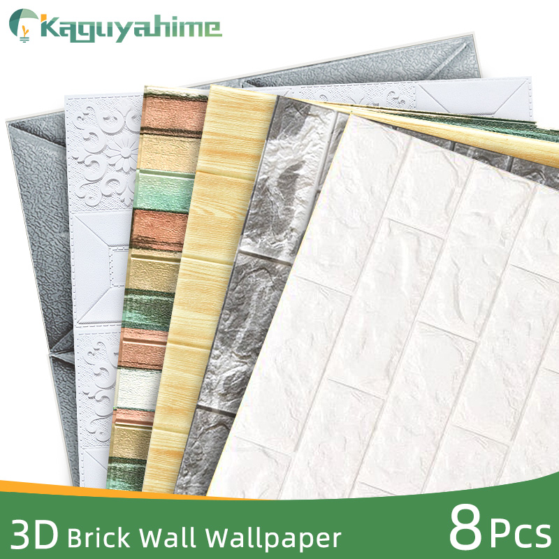 Kaguyahime 8Pcs 3D Marble Wallpaper Brick DIY Waterproof Self-Adhesive Decor Wall Stickers Tile Wallpaper For Kids Living Room