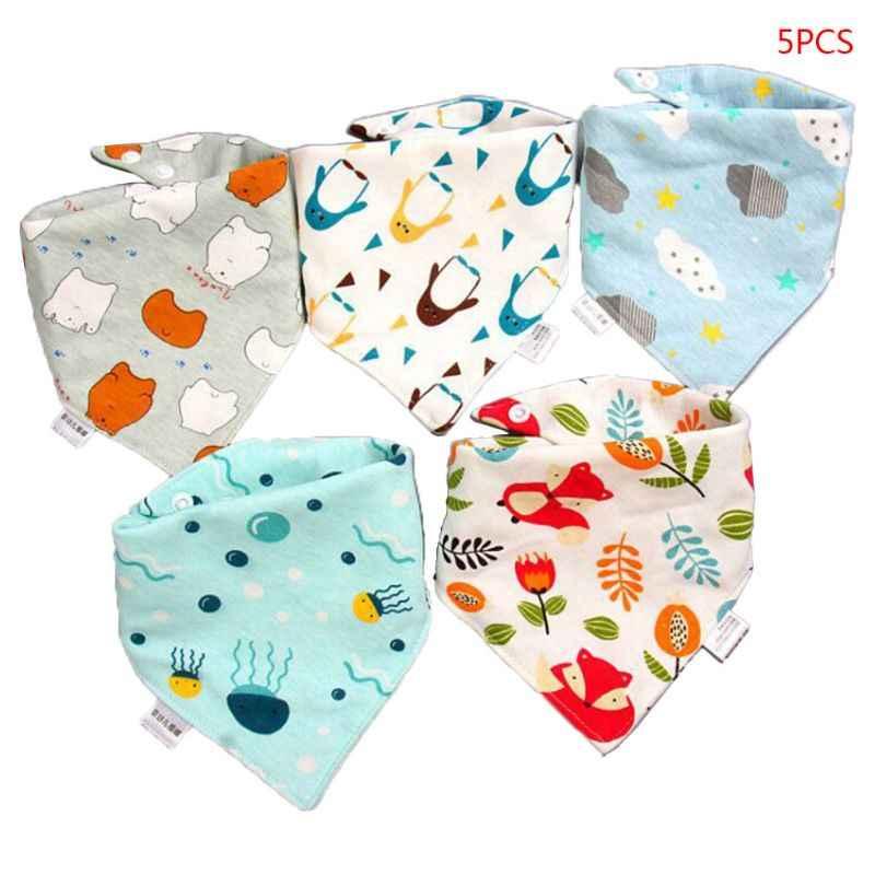 5 Stks/pak Babyvoeding Slabbetjes Baby Sjaal Handdoek Bandana Speeksel Driehoek Dribble