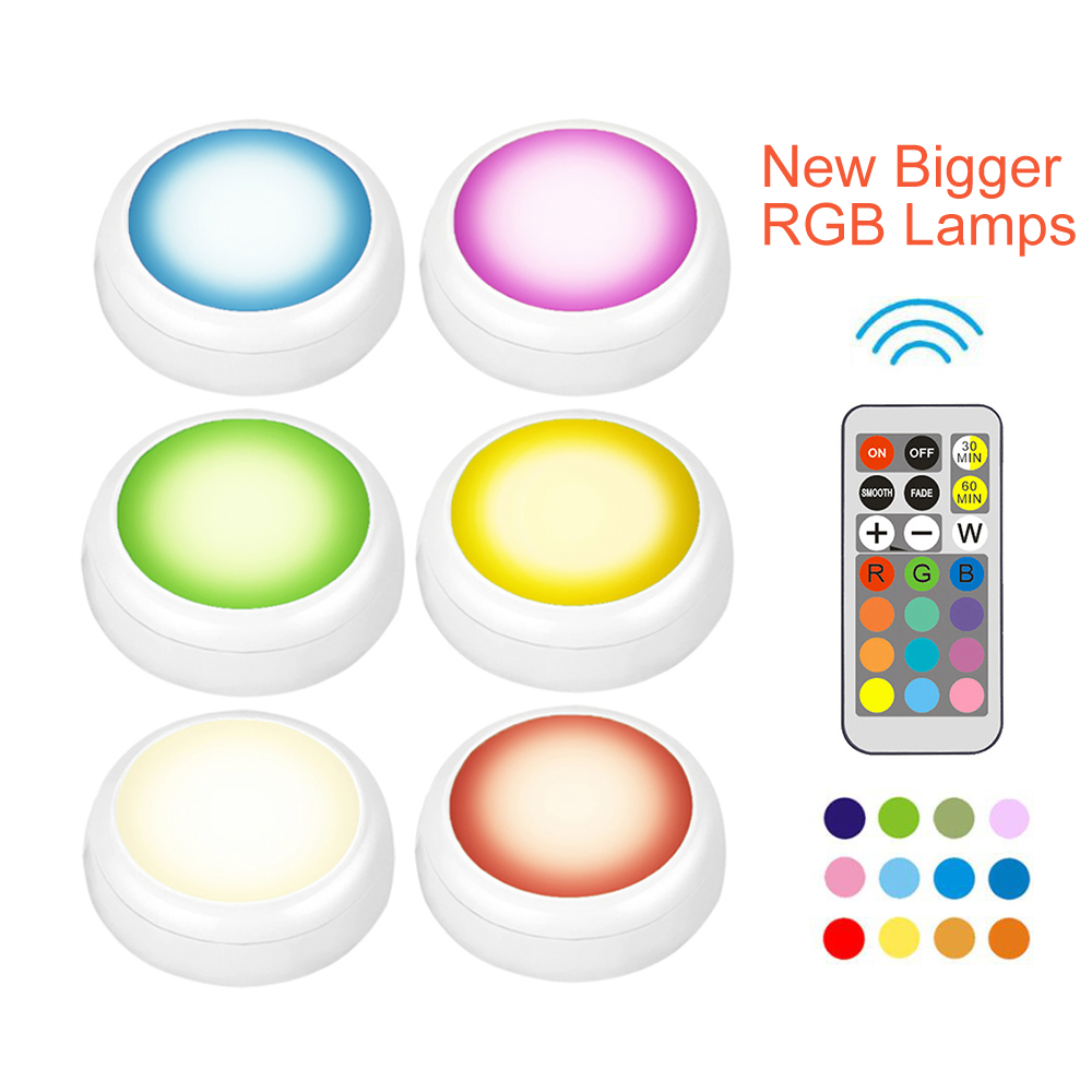 LED Bigger RGB Color Cabinet Night Light Battery Puck Lights Dimmable Under Shelf Kitchen Counter Lighting Remote Controller