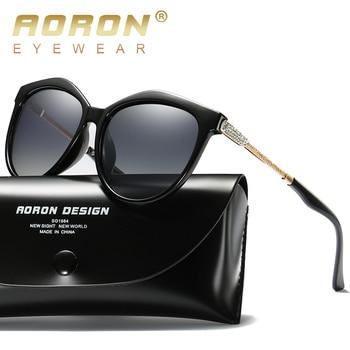 AORON Luxury Polarized Women Sunglasses Fashion Round Sunglasses classic Design cat eye UV400 Sun Glasses aoron photochromic polarized mens sunglasses classic rectangle sun glasses uv400 aluminum magnesium leg sunglasses