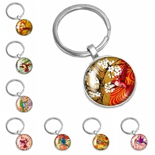 2019 New Best Selling Handmade Oil Painting Colorful Bird Pattern Series Glass Cabochon Keychain Popular Jewelry Gift