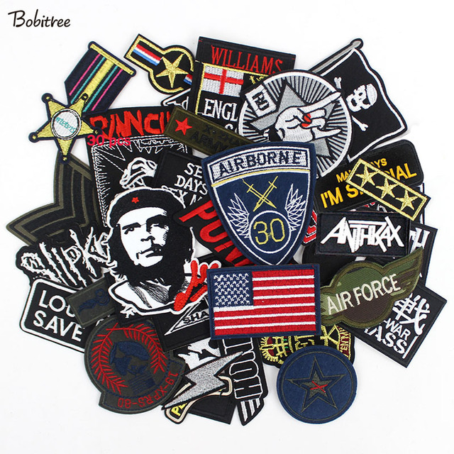 30pcs /lot Punker clothes Patches Embroidery Badges hot iron on for men boys Jeans jacket Motorcycle Stickers