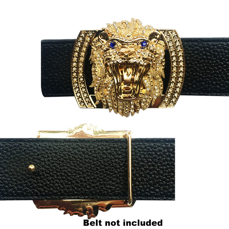 Lion Icon Heavy Metal Accessories Men's Belt Buckles Fashion Cool  Championship Raiders Belt Fit For Men Leisure Suits Leather