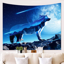 Tapestry Art Decor Wall Hanging in Dorm Living Room Bedroom Wolf Galaxy Planet Blue